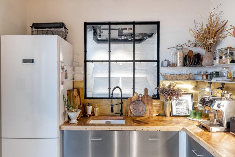 Kitchen interior with loft window in modern industrial style